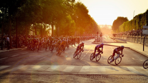 The Tour de France crash caused by a fan took place on a crowded road like this.